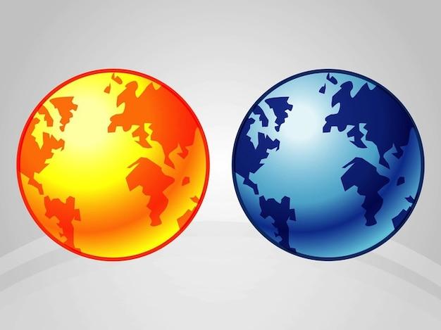 Icone della terra d'oro e blu