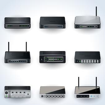 Icone delle apparecchiature di rete. modem, router, hub realistici collezione di illustrazioni vettoriali