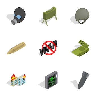 Icone delle armi messe, stile isometrico 3d