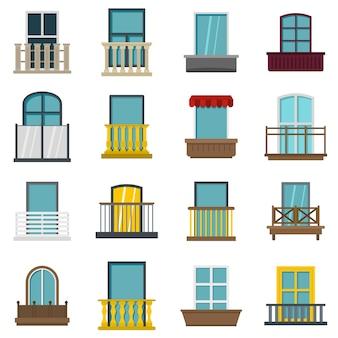 Icone delle forme di finestra impostate in stile piano