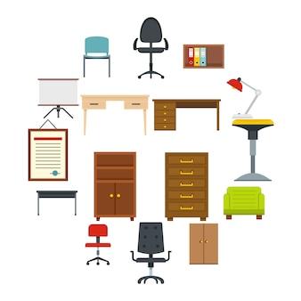 Icone delle forniture di ufficio messe nello stile piano