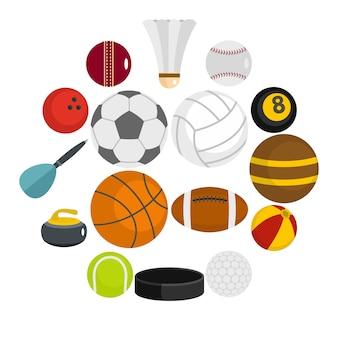 Icone delle palle di sport messe nello stile piano