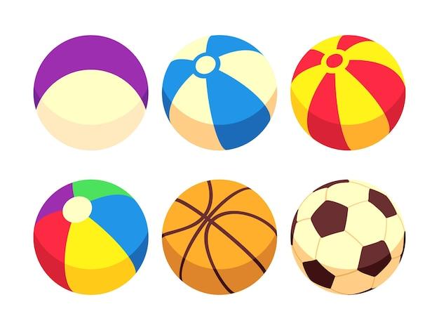 Icone delle sfere del giocattolo e di sport isolate su bianco