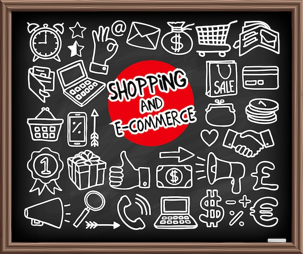 Icone dello shopping doodle