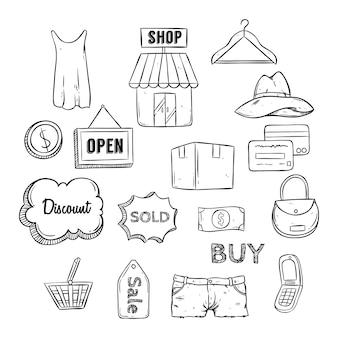 Icone dello shopping in bianco e nero impostato con doodle o stile disegnato a mano