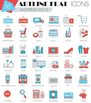 Icone dello shopping linea piatta di vettore