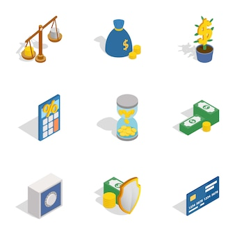 Icone denaro e finanza, stile 3d isometrico
