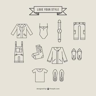 Icone di abbigliamento poligonali impostate