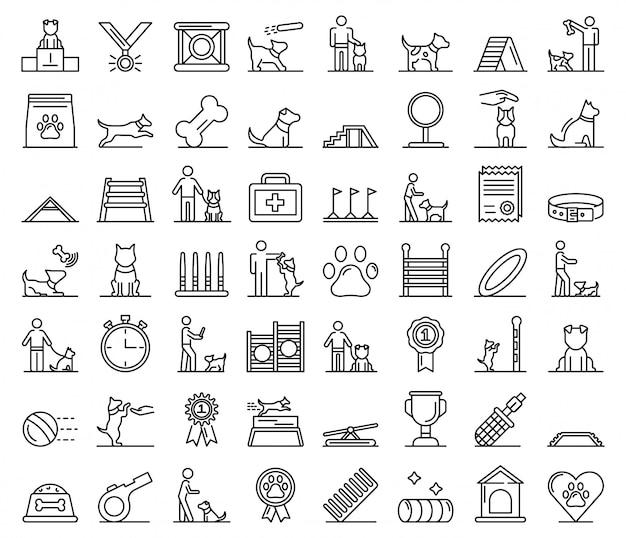 Icone di addestramento del cane messe, struttura di stile