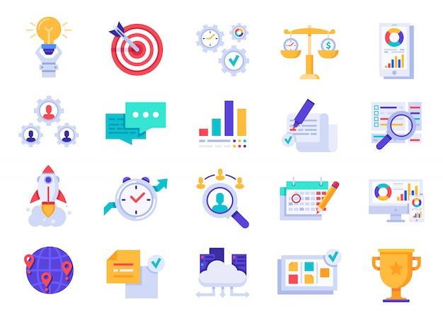 Icone di affari. avvio dell'azienda, obiettivi aziendali e icone di visione del marchio