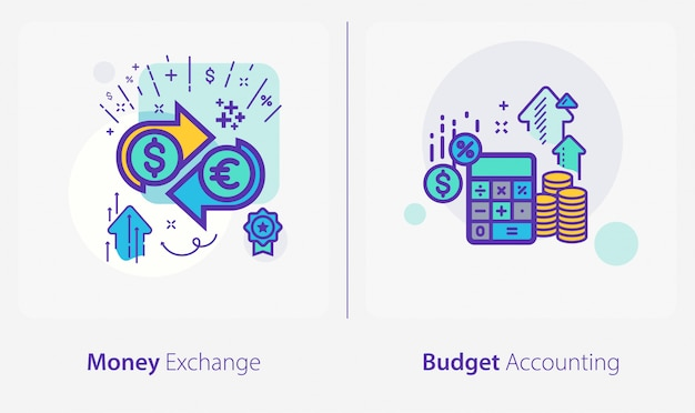 Icone di affari e finanza, cambio valuta, contabilità di bilancio