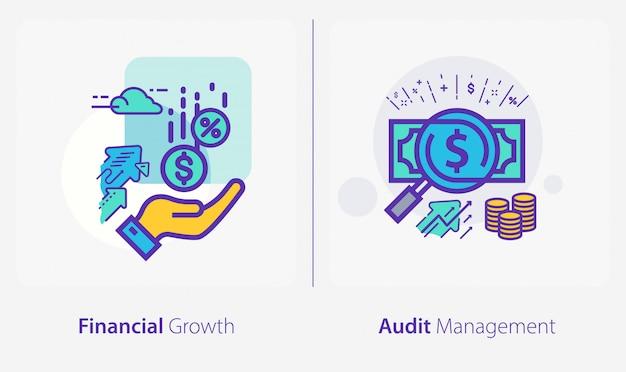 Icone di affari e finanza, crescita finanziaria, gestione degli audit