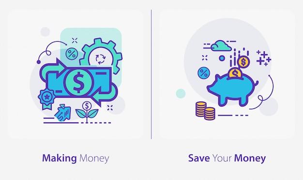 Icone di affari e finanza, fare soldi, risparmiare denaro