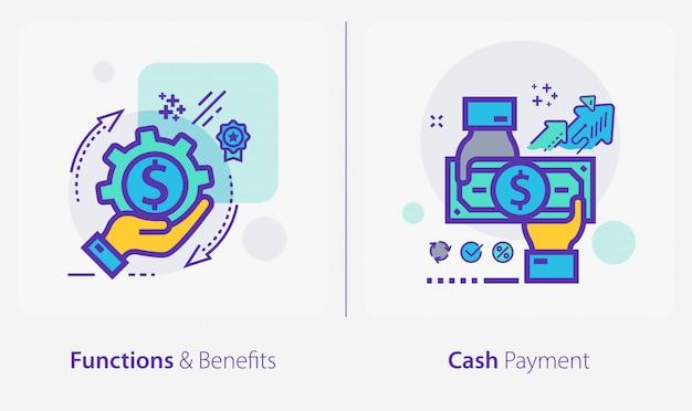 Icone di affari e finanza, funzioni e benefici, pagamento in contanti