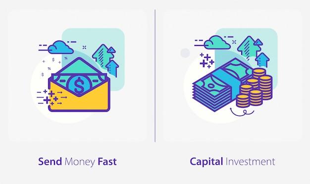 Icone di affari e finanza, inviare denaro velocemente, investimenti di capitale