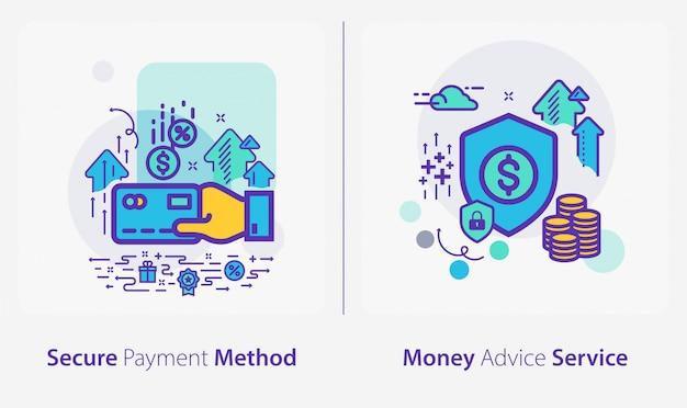 Icone di affari e finanza, metodo di pagamento sicuro, servizio di consulenza in denaro