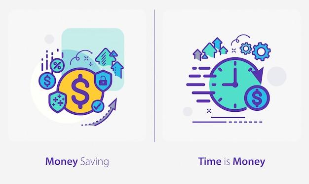 Icone di affari e finanza, risparmio di denaro, il tempo è denaro