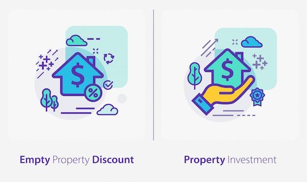 Icone di affari e finanza, sconto di proprietà vuoto, investimenti immobiliari