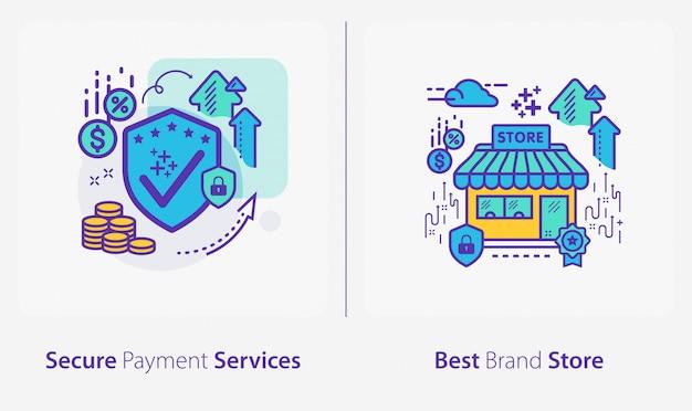 Icone di affari e finanza, servizi di pagamento sicuri, negozio del miglior marchio