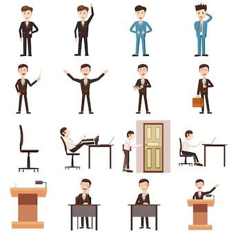 Icone di affari impostate, stile del fumetto