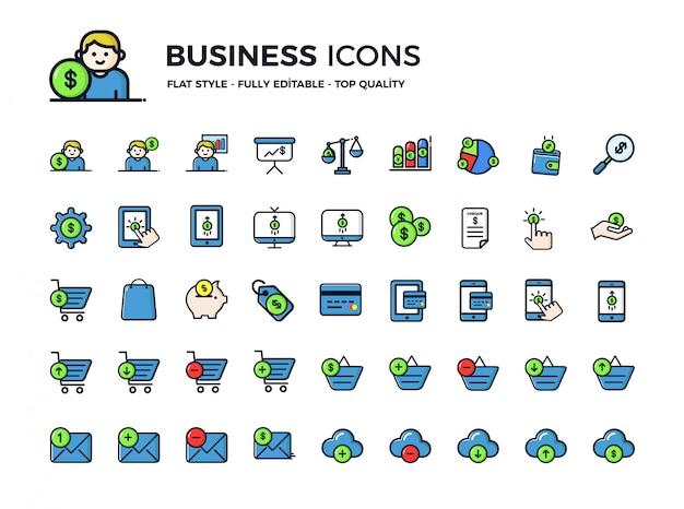 Icone di affari in stile piatto