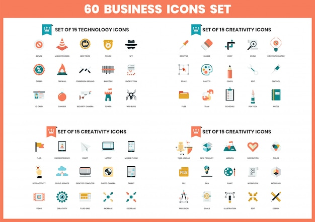 Icone di affari messe per l'affare