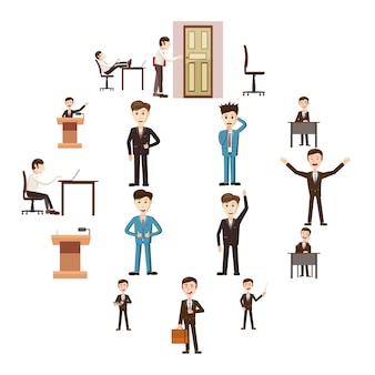 Icone di affari messe, stile del fumetto
