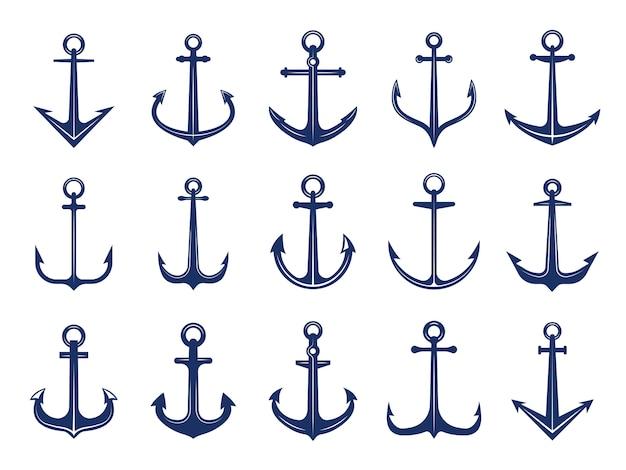 Icone di ancoraggio marino. di simboli della marina ancore nave o barca. modello di logotipi marini retrò