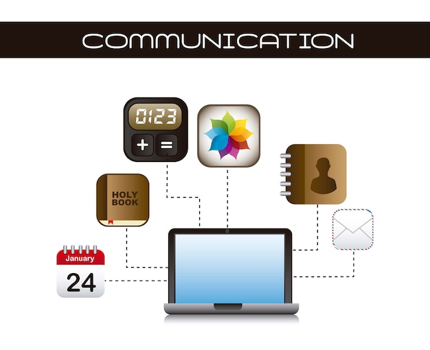 Icone di app con il computer portatile sopra il vettore bianco del fondo