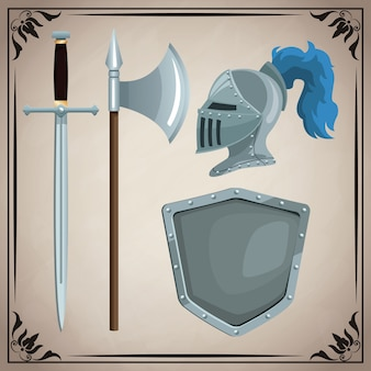 Icone di armi medievali