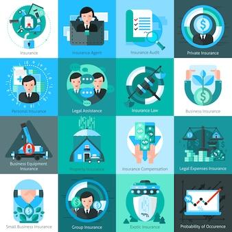 Icone di assicurazione di affari impostate