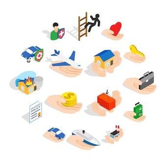 Icone di assicurazione messe, stile isometrico 3d