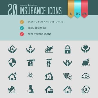 Icone di assicurazione piatta vettoriali