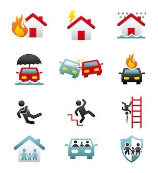 Icone di assicurazione sopra illustrazione vettoriale sfondo bianco