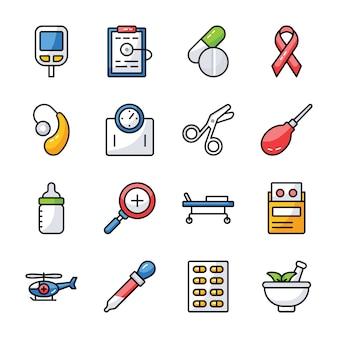 Icone di assistenza sanitaria e farmaci