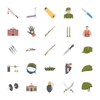 Icone di attrezzature e persone anti terrorismo