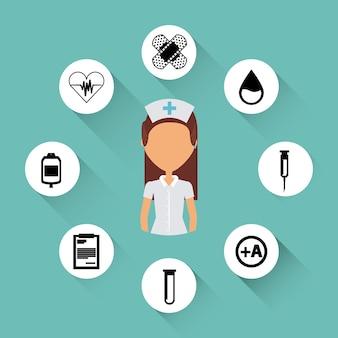 Icone di attrezzature mediche intorno infermiera donna