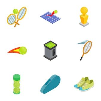 Icone di attributi di tennis messe, stile isometrico 3d