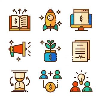 Icone di biancheria di affari colorate