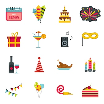 Icone di buon compleanno impostate