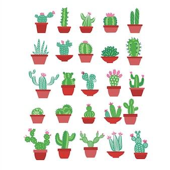 Icone di cactus in uno stile disegnato a mano piatta su uno sfondo bianco. cactus domestico delle piante verdi con i fiori in vasi.