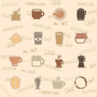 Icone di caffè sopra illustrazione vettoriale sfondo rosa