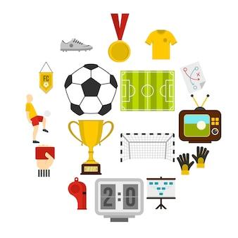 Icone di calcio di calcio messe nello stile piano