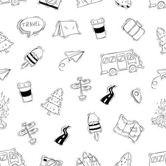 Icone di campeggio o viaggio in seamless con stile doodle