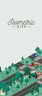 Icone di carte di scena città isometrica