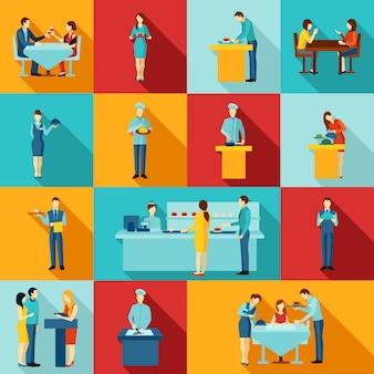 Icone di catering pubblico con personale di servizio