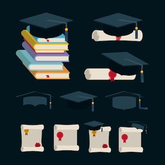 Icone di celebrazione di laurea