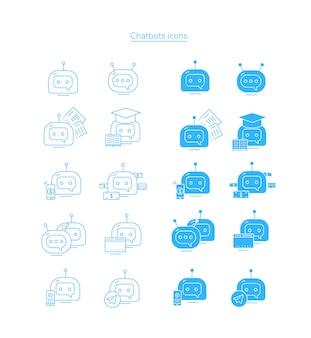 Icone di chatbot. insieme dell'icona del colpo del bot.