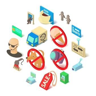 Icone di cibi negozio navigazione impostate, stile isometrico