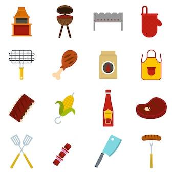 Icone di cibo bbq impostato in stile piano